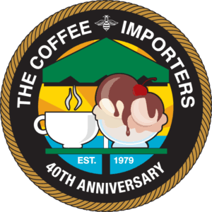 Logo for The Coffee Importers 40th Anniversary in Dana Point California